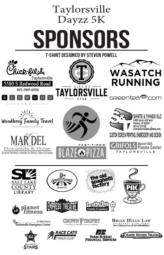 Taylorsville Dayzz 5K sponsors 2019