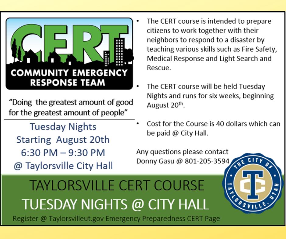 CERT Courses   Taylorsville News   Taylorsville, UT